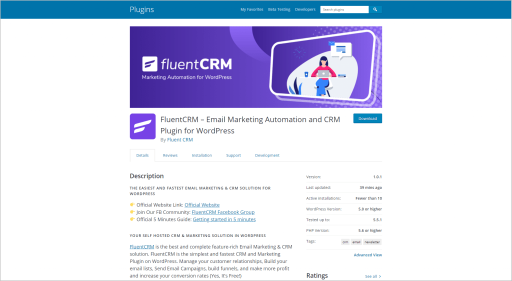 FluentCRM on WordPress.org