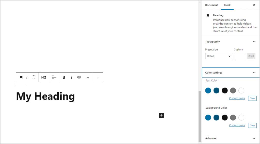 Core Heading Block Settings