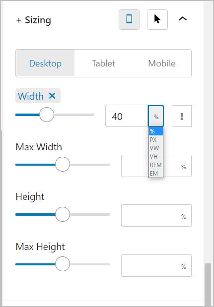 Editor Plus Sizing Units Option