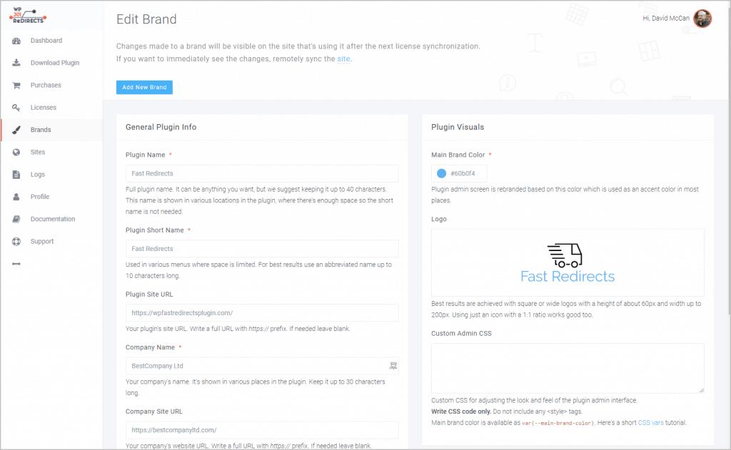 Online Dashboard Edit Brands Screen