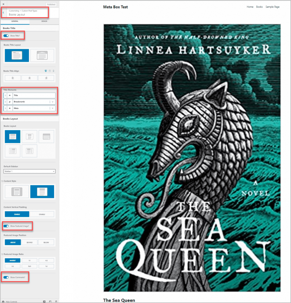 Default Theme Customizer Options For Book Single
