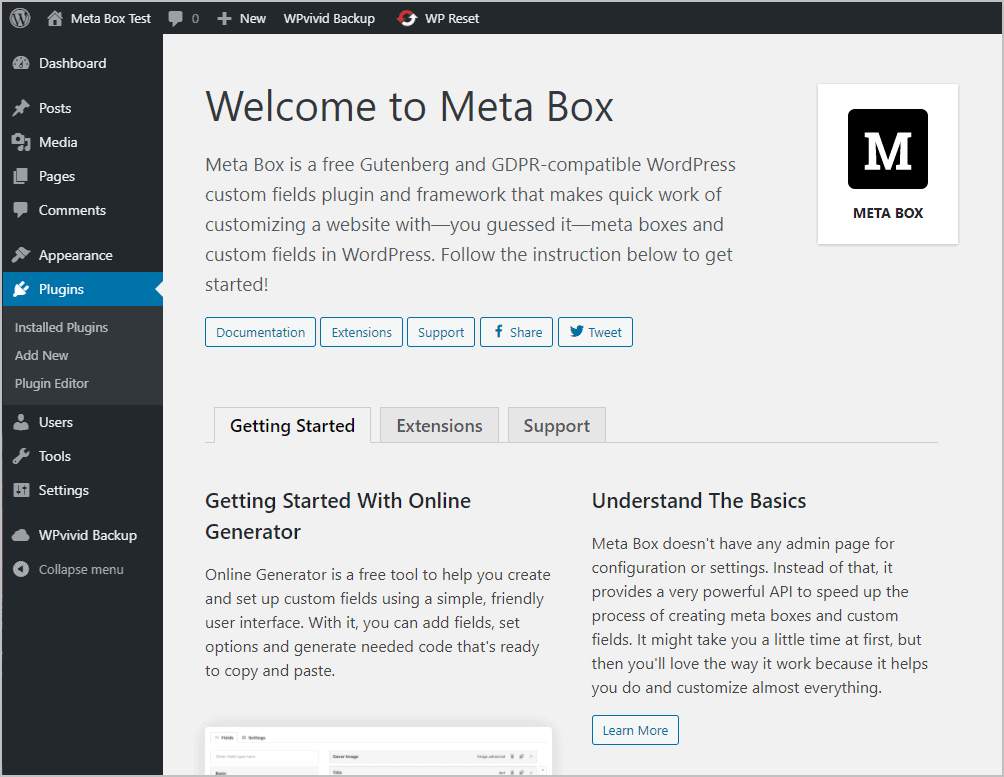 Meta Box Getting Started Page