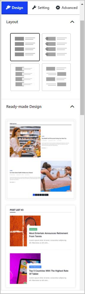 Post List 3 Design Tab