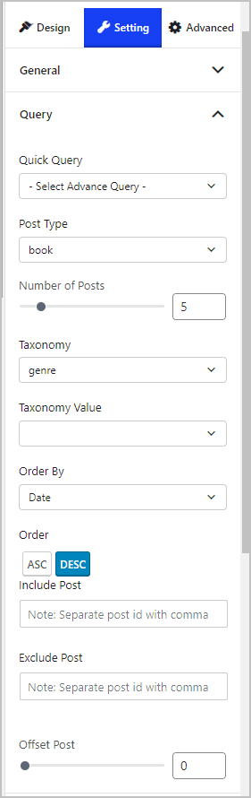 Post List 3 Settings Tab Query Panel