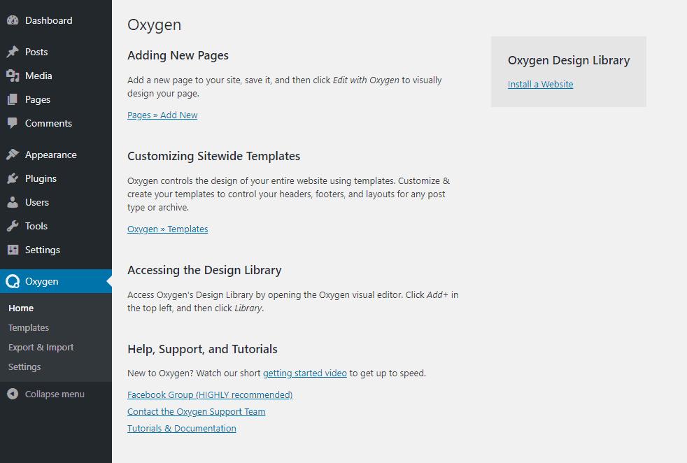 Oxygen Home Menu Page