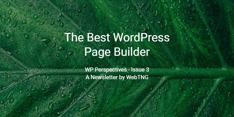 The Best WordPress Page Builder WP Perspectives Issue 3