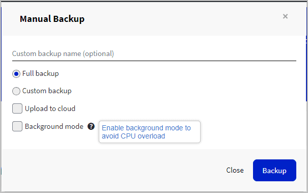 backups have optional background mode
