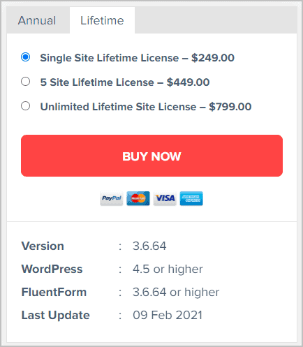 fluent forms lifetime pricing