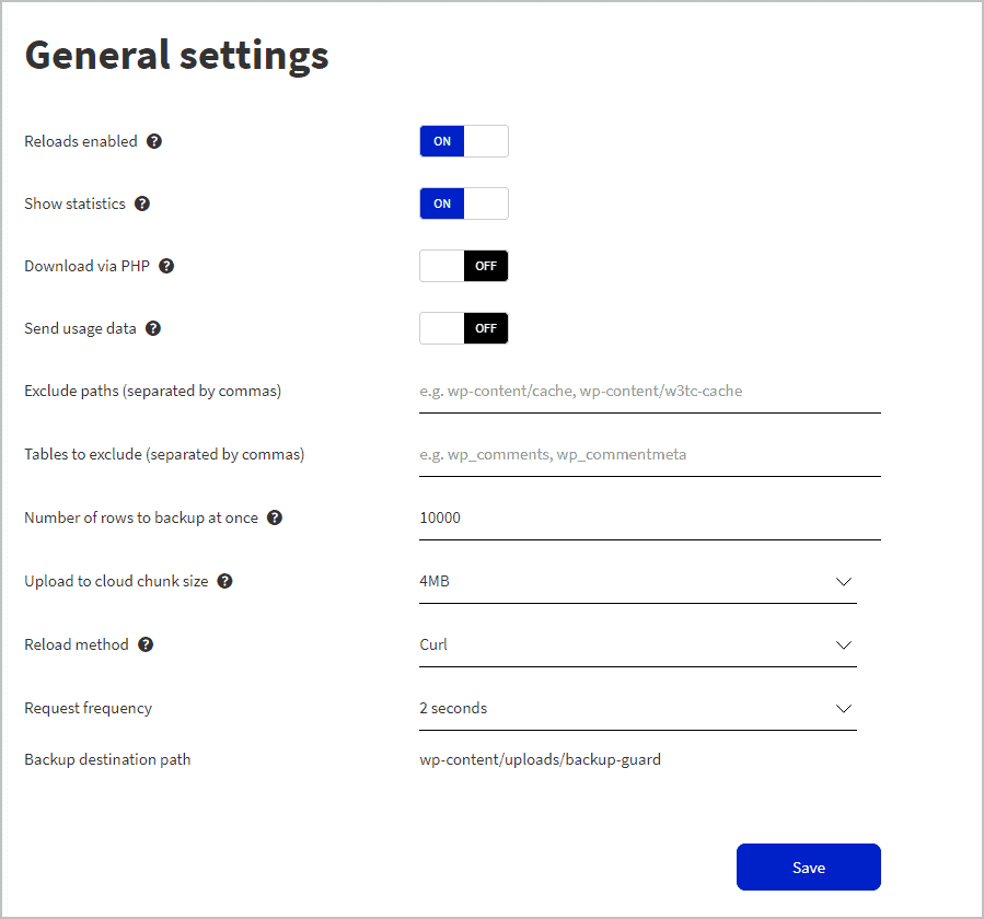 general settings menu