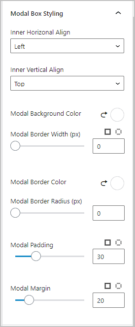 modal box styling settings