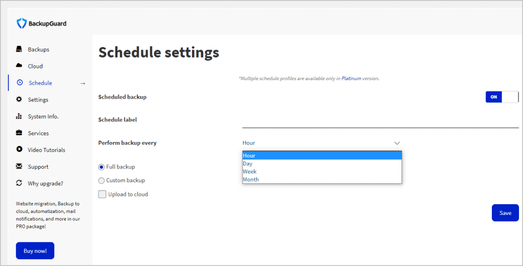 schedule settings menu