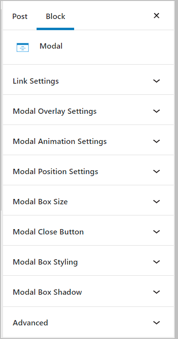 settings panels for the modal block