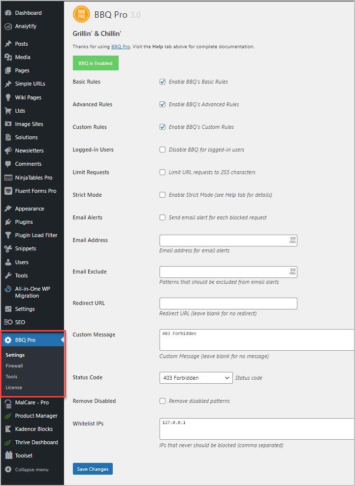 bbq pro settings menu