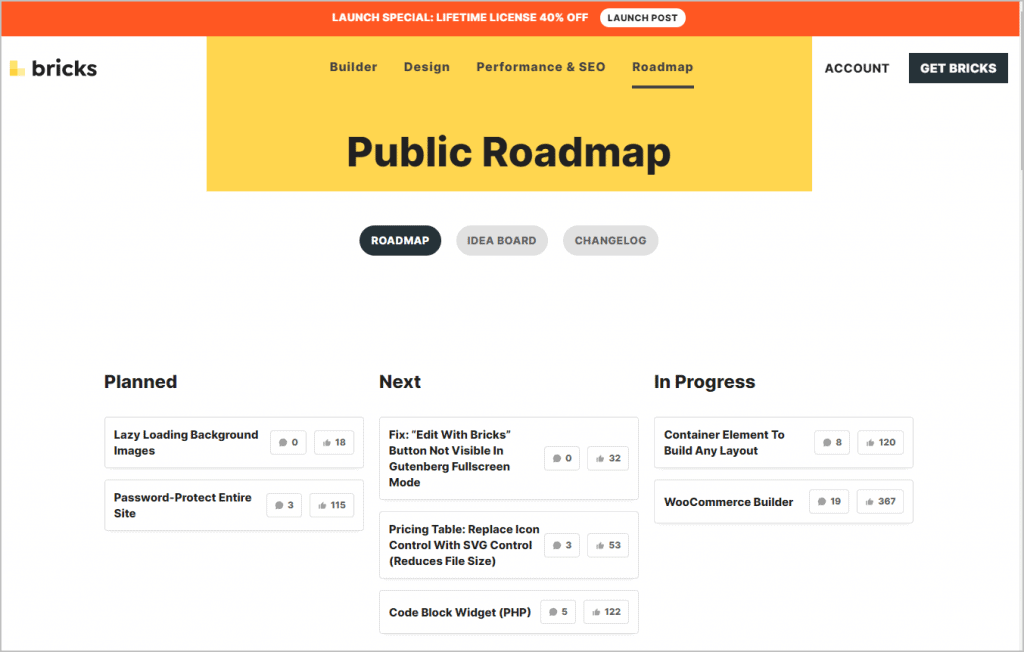 bricks roadmap