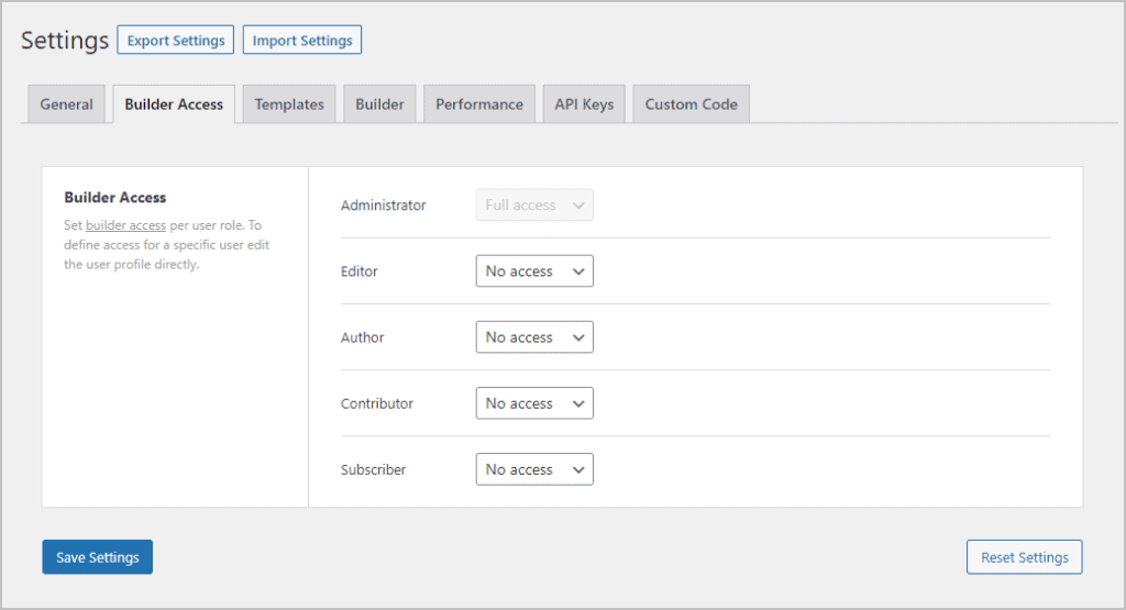 bricks settings builder access