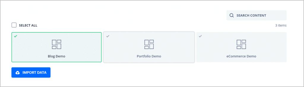 import demo option explained