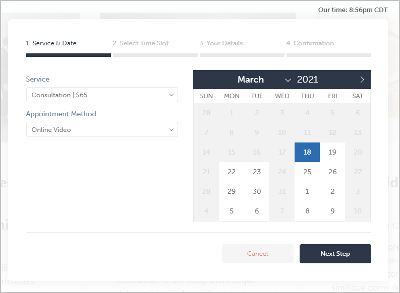 online form service and date
