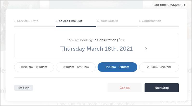 online form time slot