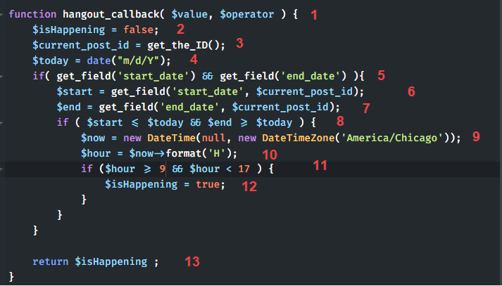 callback function lines numbered