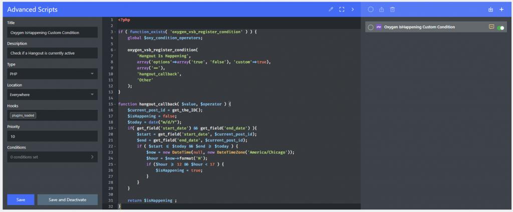 code in advanced scripts ui
