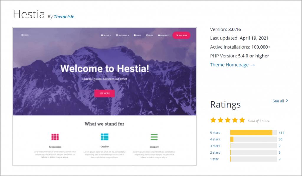 hestia theme